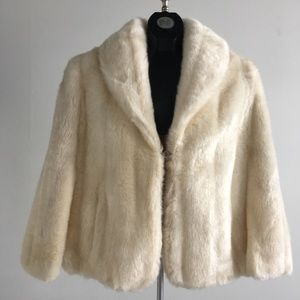 Ivory Shawl Collar Faux Fur Cape Jacket W/ Pockets